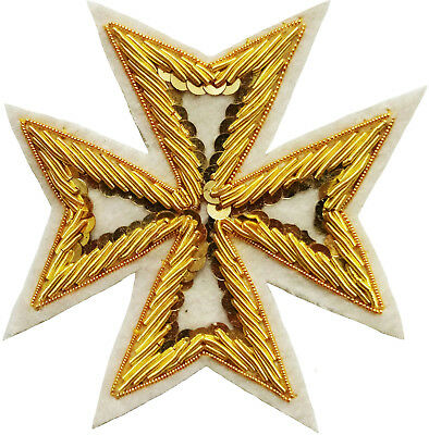 Masonic St. John Order Malta Knights Maltese Cross Hand Embroidered (Me-002 Wt)