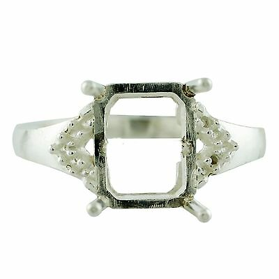 Octagon Shape Ring Semi Mount 8x10 MM Solid 925 Sterling Silver Wedding Jewelry
