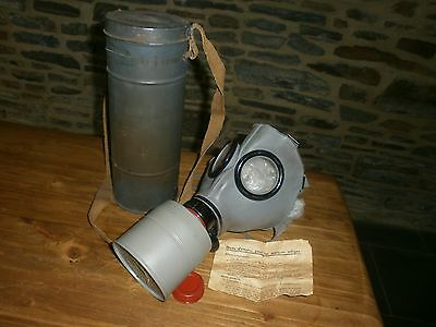 French WW2 issued gas mask case Canister  SOME INSTRUCTIONS FATRA 1938 WW11