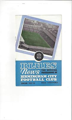 Birmingham City v Barcelona Fairs Cup Semi Final Football Programme 1957/58