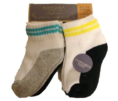 New Baby Boy Sonoma 4 Pair Crew Socks Sizes 5 - 6 Cushioned Foot Infant Toddler