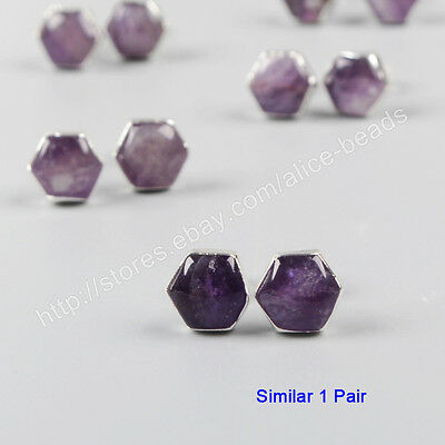 1Pair 925 Sterling Silver 8mm Cambered Hexagon Natural Amethyst Studs HOT HSS085