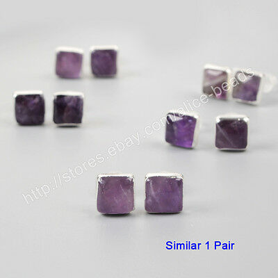 1Pair 925 Sterling Silver 8mm Cambered Square Natural Amethyst Studs HOT HSS086