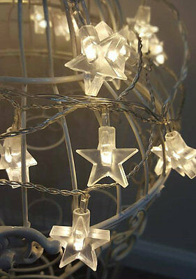 30x Warm White LED Star String Lights Indoor/Outdoor Bedroom Star Fairy Lights
