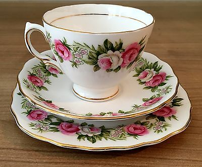 Vintage 50,s Colclough fine bone china Pink Roses Trio set. Cup, saucer & plate