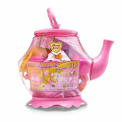 Childrens Large Plastic Tea Set Teapot Breakfast Drink Cups Spoons Picnic Toy