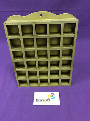 Gold-Coloured Wooden Thimble Display Rack Holds 30 Thimbles