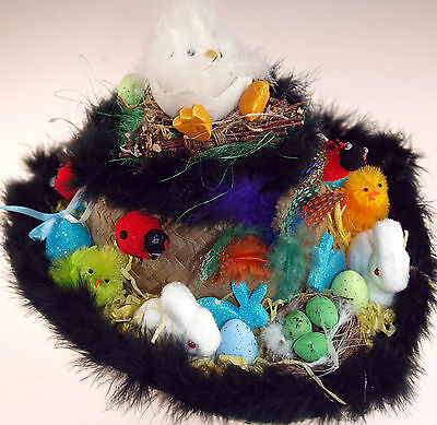 Boys Ready Made Decorated Cowboy Easter Hat - Black Rim / Chick Twig Nest
