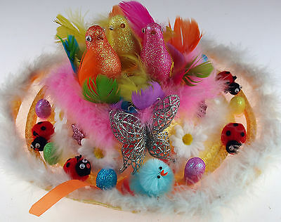 Girls Ready Made Decorated Easter Bonnet Hat - 3 Glitter Birds / Butterfly