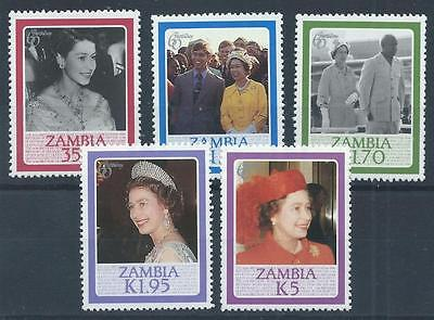 ZAMBIA 1986 SG453-457 QEII 60th Birthday Set Mint MNH A#021