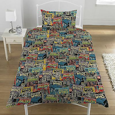 Doctor Who Comics Single Duvet Cover And Pillowcase Set Official New Free P+P