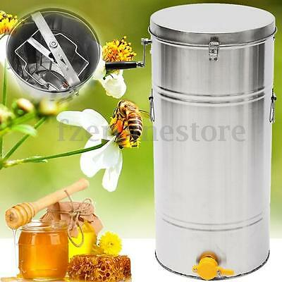 New 2 Frame Stainless Steel Honey Extractor Spinner Beehive Beekeeping 35x74cm