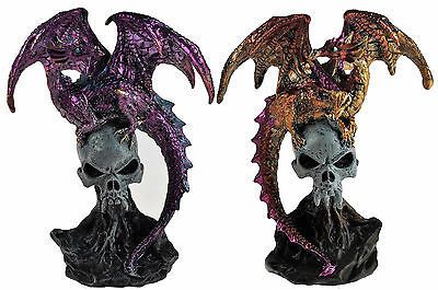 Set Of 2 Dragon On Skull 14cm Ornament Figurine - Bygone / Protected Relic