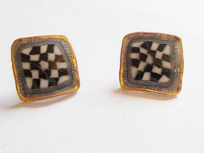 Vintage 1960's Black & White Porcelain Or Ceramic Tule Chequered Square Earrings