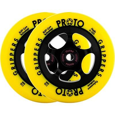 Proto Gripper Day-Glo Scooter Wheels - Complete 2-Pack - Yellow