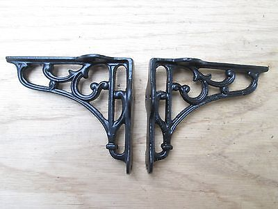 Pair of  Ornate Victorian scroll Cast Iron book shelf Wall Bracket Support