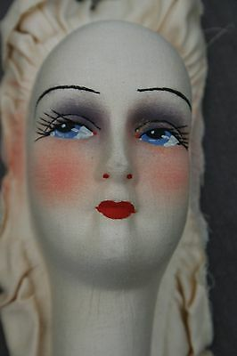 ANTIQUE FRENCH BOUDOIR DOLL HEAD ART DECO 1920's-1930's HAND PAINTED FACE RARE
