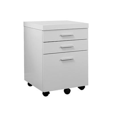 Monarch Specialties I 7048 White Hollow Core 3 Drawer File Cabinet On Casters