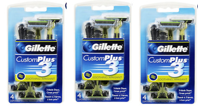 3 Pk- Gillette Custom Plus 3 Soothing Disposable Razors 4 Count