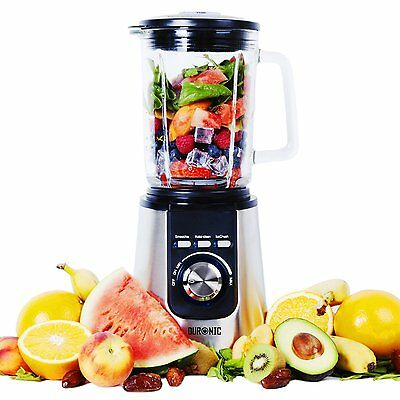 Duronic BL1200 Stainless Steel Blender 1.8L Glass Jug Ice Crusher Smoothie 1200W
