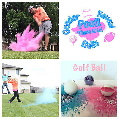 3 Exploding Gender Reveal Golf Balls: Pink, Blue, & Purple Practice Ball