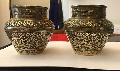 Vtg Antique Islamic Brass Bronze Persian Pair Vases Arabic Princely Figures