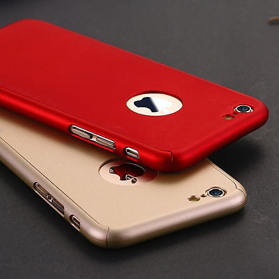 360° Full Body Hard Shockproof Case Cover + Tempered Glass For iPhone 5 6 7 Plus
