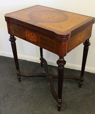 Antique French Style Furniture - Inlaid Card Table | Hall Table | Walnut C363