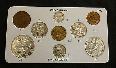 1942 George VI Quality 9-Coin Type Year Set On Card ( Halfcrown - Farthing )