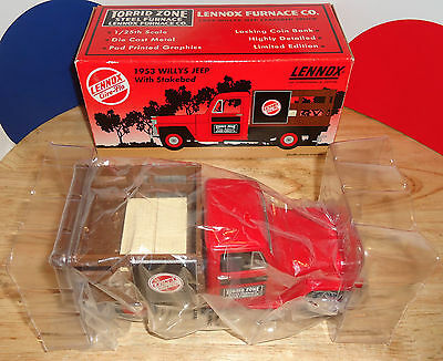 1953 WILLYS JEEP w STAKEBED LENNOX FURNACE TORRID ZONE DIECAST Coin Bank 1:25