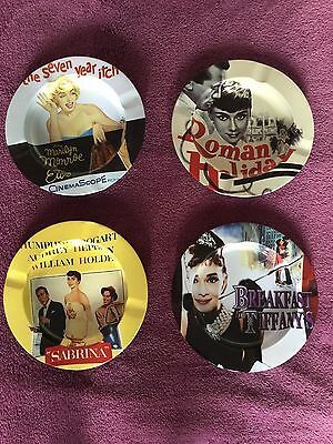 Set Of 4 Collectable Audrey Hepburn and Marilyn Monroe Ashtrays