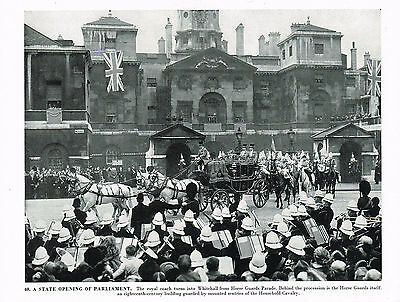 A State Opening Of Parliament Vintage 1950's Print London
