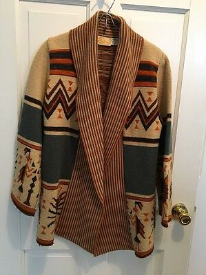 VINTAGE 1970s SABRA WINTUK MULTICOLOR AZTEC NATIVE AMERICAN KNIT BOHO SWEATER