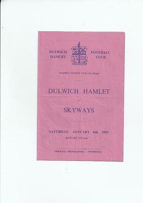 Dulwich Hamlet v Skyways Surrey Senior Cup Football Programme 1950/51