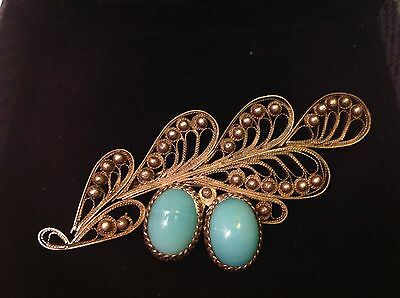 Vintage  Art Deco   Filigree  Silver  Plated Turquoise  Mosaic Glass  Brooch Pin