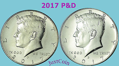 2017 P&D Kennedy Half Dollar Set Clad Two Coins Set Uncirculated