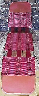 Vintage Retro 1960's 1970's Pink Rubber Metal Framed Sun Lounger Folding Chair