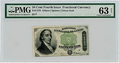 Fr. 1379 Fifty Cent 50c 4th Issue Fractional Currency Ch Unc63 NET PMG