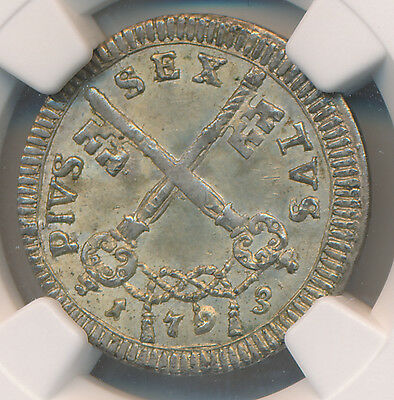 Italy 4 Baiocchi 1793 Papal States - NGC MS 63