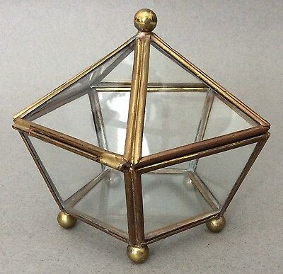 Vtg Glass & Brass 5-Sided Pentagon DISPLAY BOX Trinket Terrarium Footed Hinged