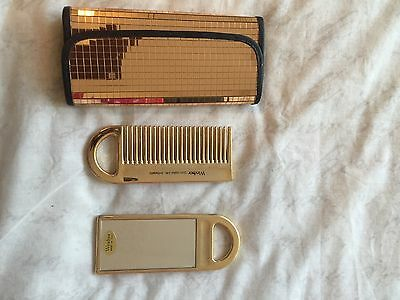 Set Of Mirror/Comb & Pouch - 24 Carat Gold Plated
