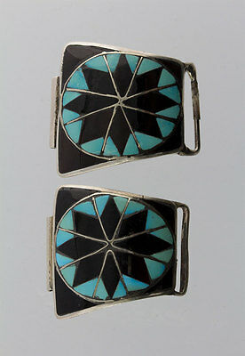 Old Vintage Native American Sterling Silver Zuni Inlay Design Watch Tip