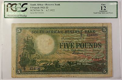 1921-22 6.7.1922 South Africa 5 Pound Note SCWPM# 76 PCGS F-12 Apparent