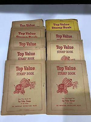 Vintage 1959 1958 Top Value Trading Stamp Books complete with stamps lot of 8