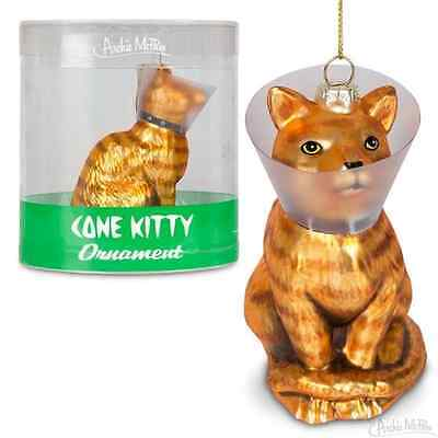 New Handpainted Christmas Holiday Glass Orange Tabby Cat in Cone Kitty Ornament