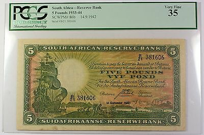 1933-34 14.9.1942 South Africa 5 Pound Reserve Bank Note SCWPM# 86b PCGS VF-35