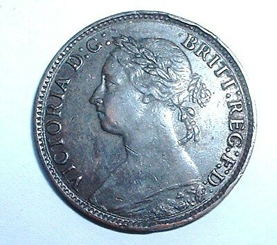 Rare 1881 Britain - Farthing - Queen Victoria -  Very Good Detail - NO RESERVE