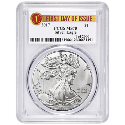 2017 $1 American Silver Eagle PCGS MS70 First Day of Issue First Label
