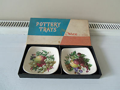 "VINTAGE ""WADE"" 2 POTTERY TRAYS/NUT DISHES/-(boxed)(new)"
