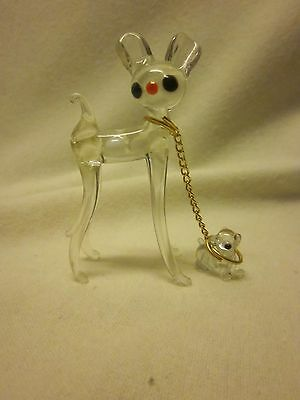 Murano glass deer and fawn miniature, vintage